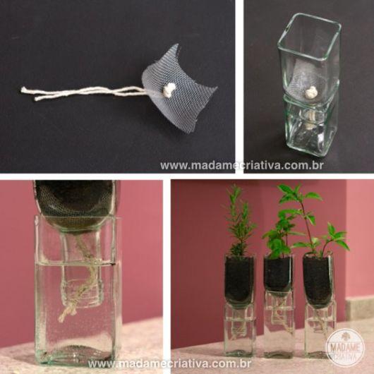 artesanato em garrafa de vidro cortada vaso