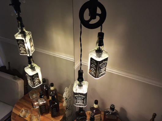 artesanato em garrafa de vidro iluminação wisky