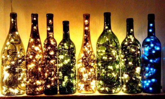 artesanato em garrafa de vidro iluminação