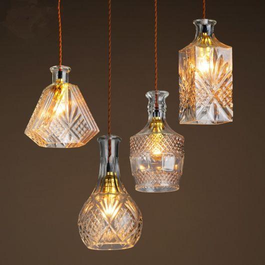 artesanato em garrafa de vidro luminária chique