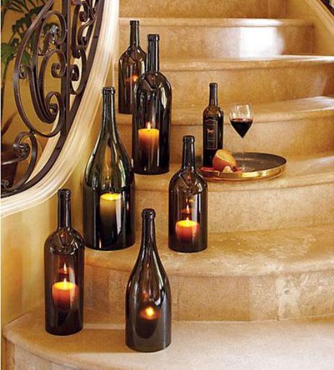 artesanato em garrafa de vidro luminária com vela