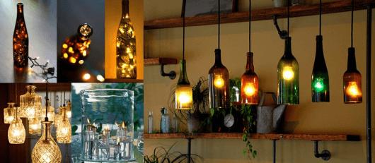 artesanato em garrafa de vidro luminária