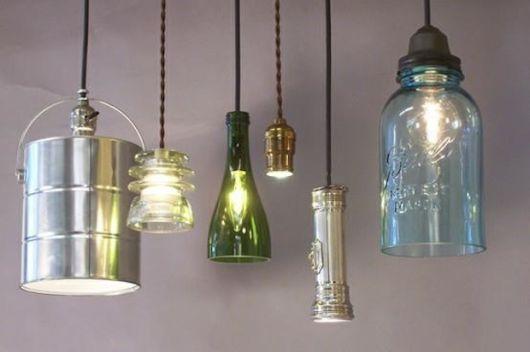 artesanato em garrafa de vidro lustres