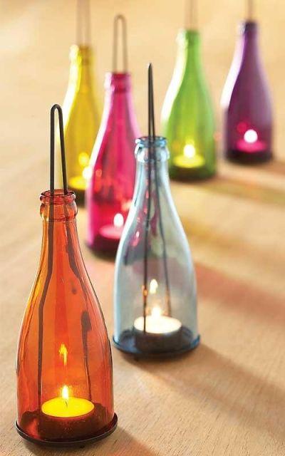 artesanato em garrafa de vidro luz