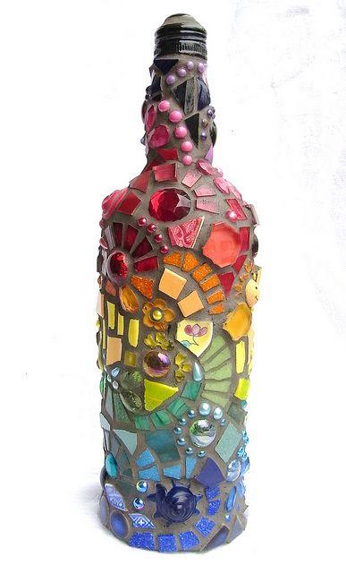 artesanato em garrafa de vidro mosaico
