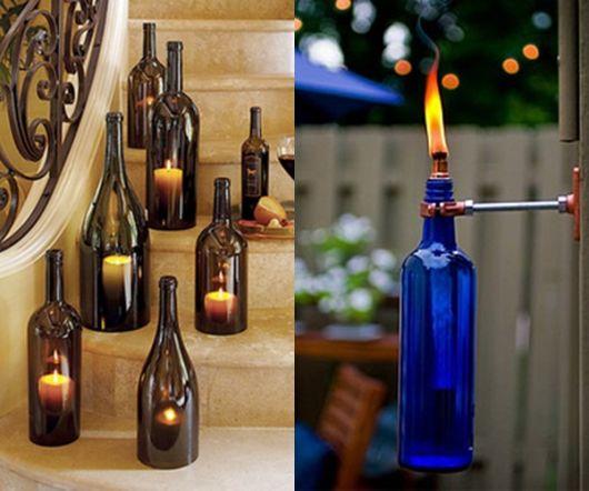 artesanato em garrafa de vidro para iluminar
