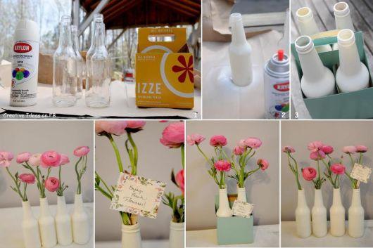 artesanato em garrafa de vidro passo a passo com flores