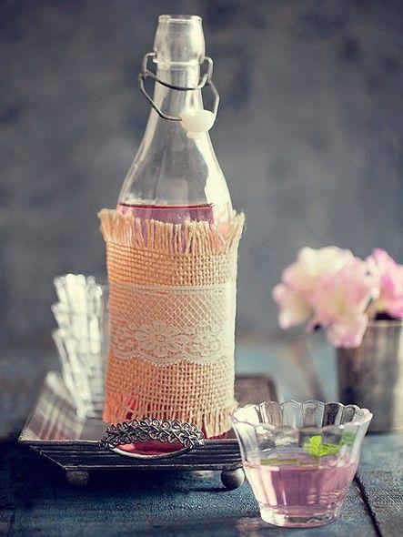 artesanato em garrafa de vidro romântico