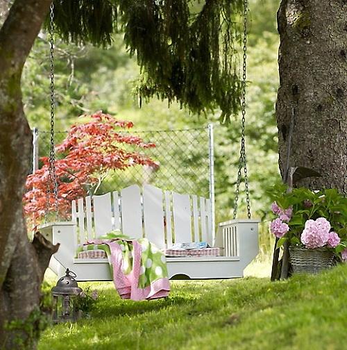 bancos de jardim com balanço lindo