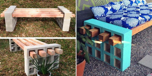 bancos de jardim com blocos de cimento