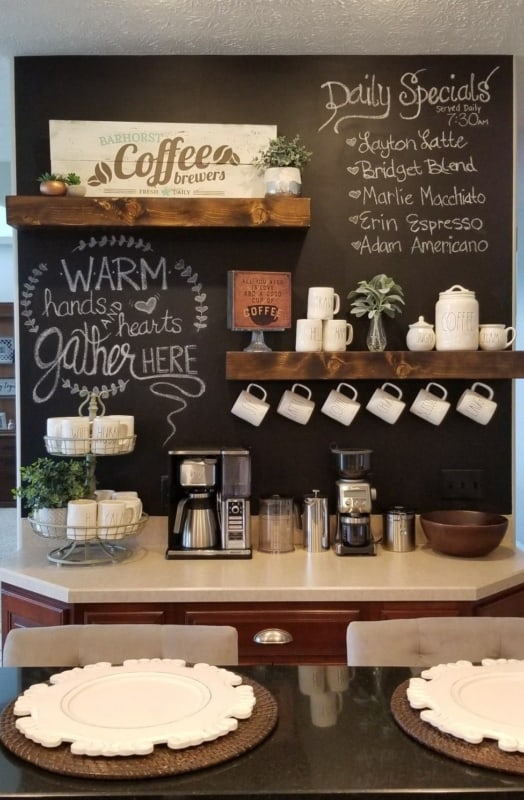 cantinho do café com parede de lousa
