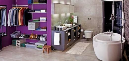 closet com banheiro colorido