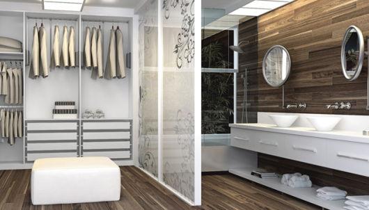 closet com banheiro duplo clean