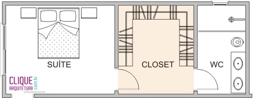 closet com banheiro planta