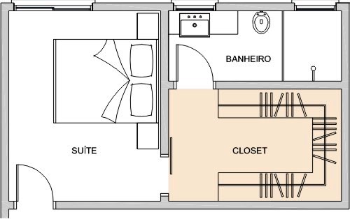 Closet com banheiro Como planejar e 40 fotos inspirador -> Closet Com Banheiro Integrado Pequeno