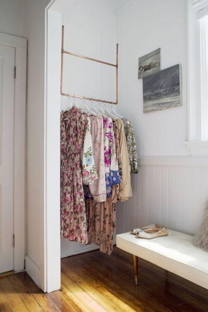 Closet com banheiro Como planejar e 40 fotos inspiradoras # Closet Com Banheiro Integrado Pequeno