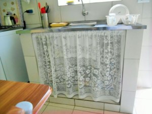 cortina de pia de renda transparente