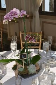 centro de mesa decoração com orquídea
