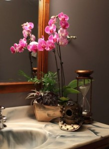 decoração com orquídea lavabos e banheiros
