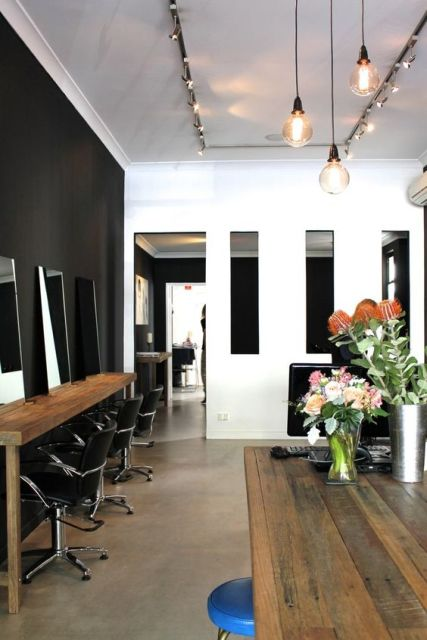 Decora o de sal o de beleza dicas e 77 ambientes lindos - Interior hair salon lighting ideas ...