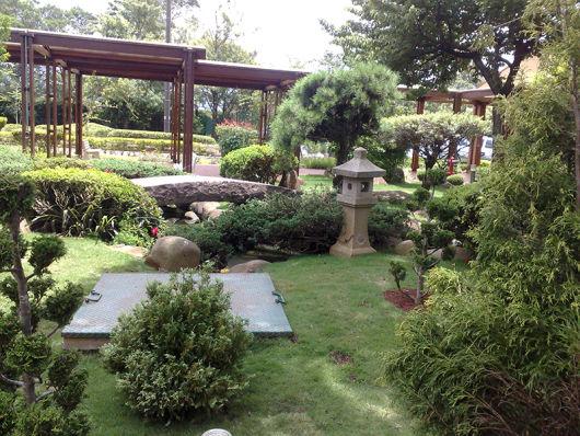 jardim com pergolado