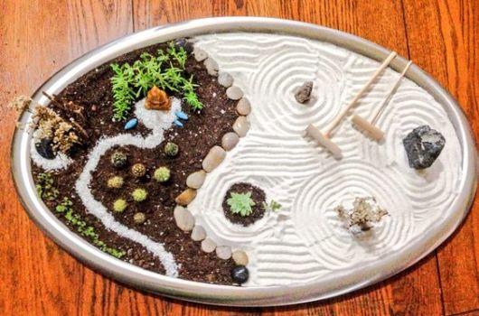 mini jardim com areia