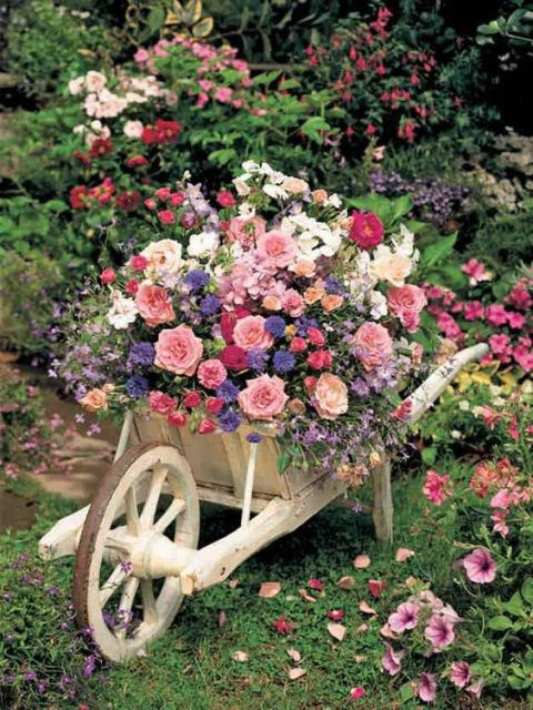 jardim rústico roda de carroça carrinho