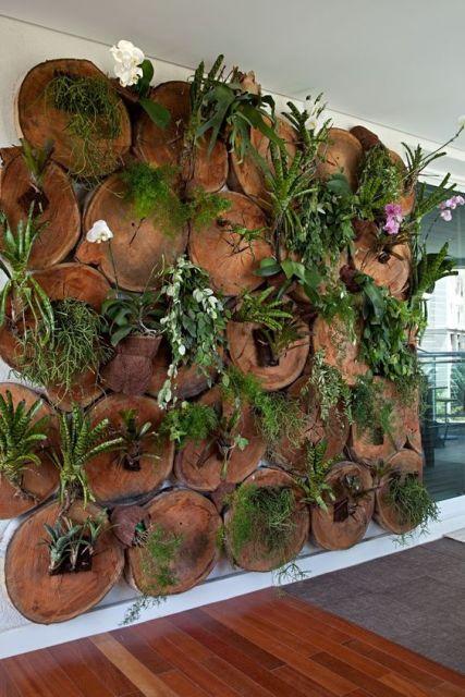jardim rústico tronco