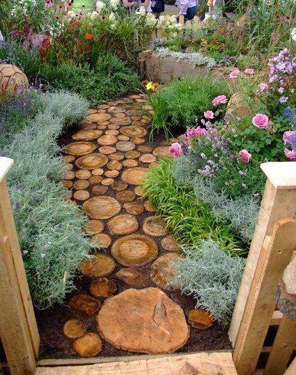 jardim rústico troncosno chão