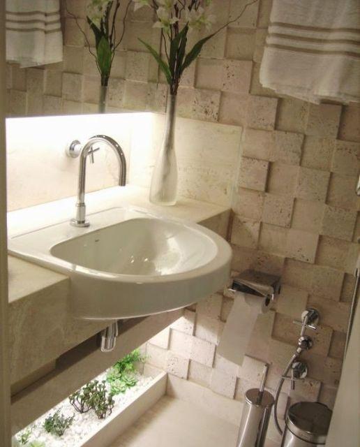 Lavabos pequenos decorados medidas plantas e inspira es - Papel para paredes baratos ...