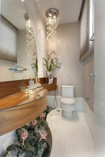Lavabos pequenos decorados medidas, plantas e inspirações -> Lustre Banheiro Moderno