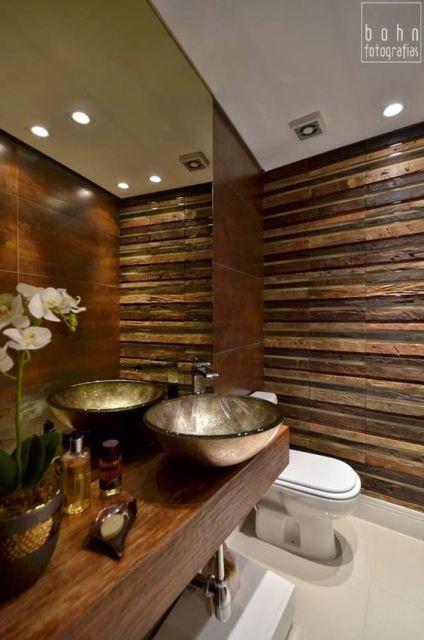 Lavabos pequenos decorados medidas, plantas e inspirações -> Cuba Para Banheiro Bronze