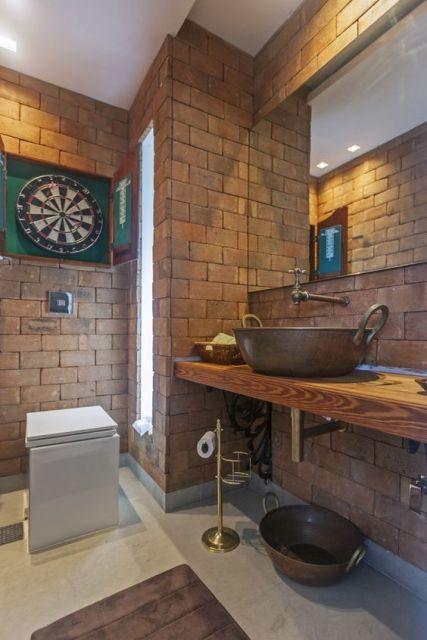 decoração banheiro social rústico