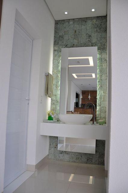 Lavabos pequenos decorados medidas, plantas e inspirações -> Banheiro Simples Para Area De Lazer