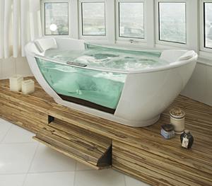 banheira com lateral de vidro