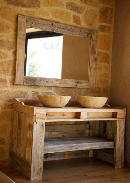 bancada rústica banheiro
