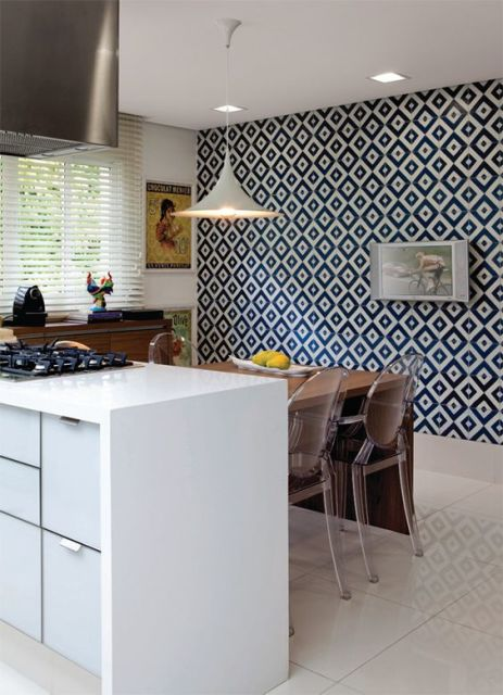 decoração azul sala de jantar