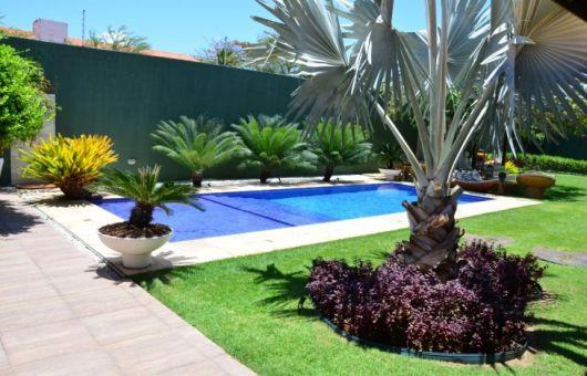 piscina com jardim em volta