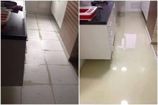 piso autonivelante antes e depois
