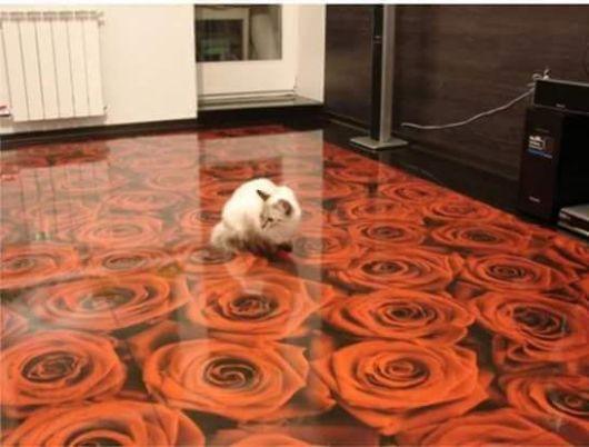 piso com desenhos de rosas