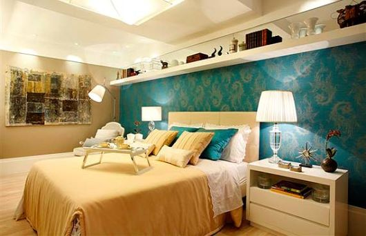 decoração bege e azul