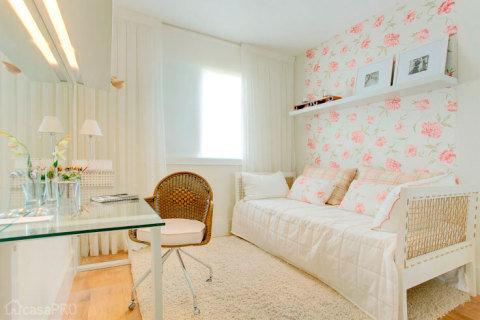 papel de parede floral quarto