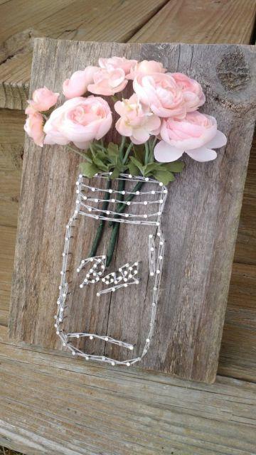 quadros artesanais com barbantes flor