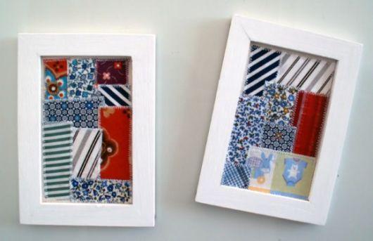 quadros artesanais com colagem tecido