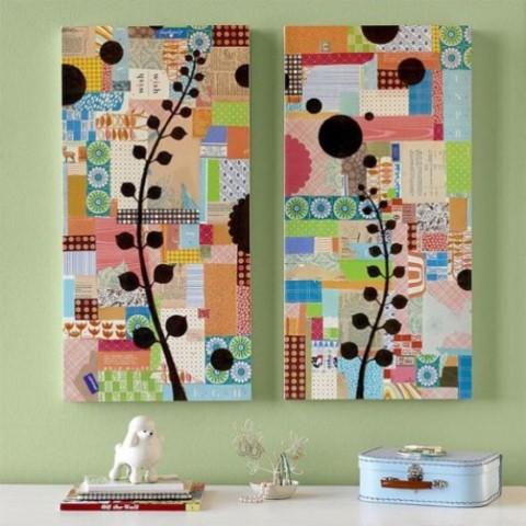 quadros artesanais com tecidos