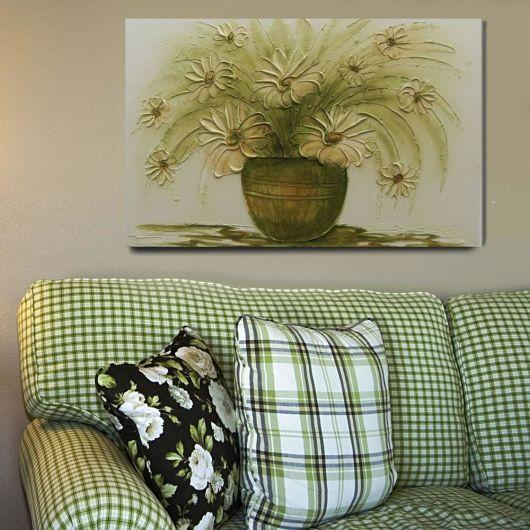quadros artesanais textura vaso de flor