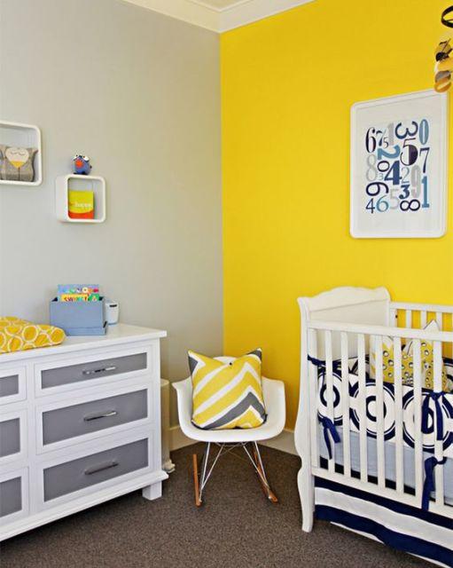 quarto de bebê amarelo com azul enxoval azul