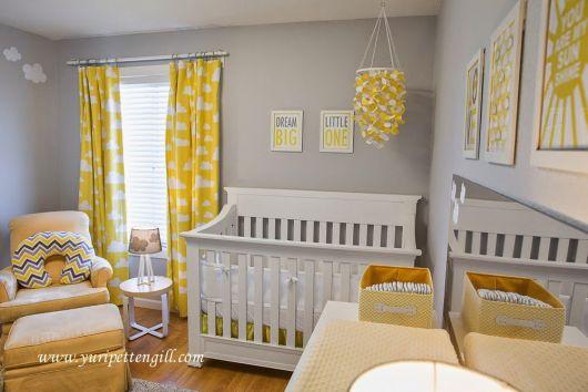 quarto de bebê amarelo e cinza cortina