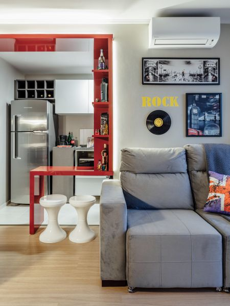 decoração moderna em sala pequena