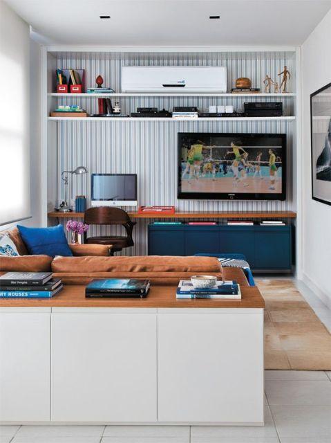 decoração sala azul